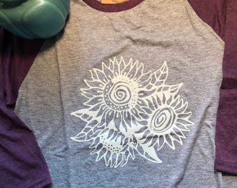 Sunflowers screen printed t-shirt,  sunflower baseball t, teal t-shirt, purple t-shirt, garden t-shirt