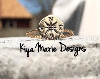 Compass Ring, skinny band stack ring, bronze gold filled Stack Rings, Sea life nautical rings, beach ocean jewelry