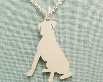 Boxer Dog Necklace, Sitting Personalize Sterling Silver Pendant, Breed Silhouette Charm, Resue Shelter, Mothers Day Gift
