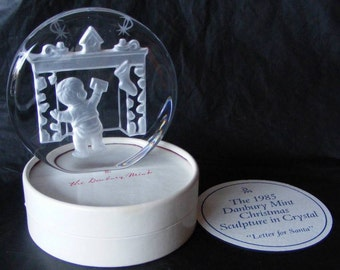 1985 Danbury Mint Lead Crystal Christmas Sculpture Letter for Santa Figurine Paperweight in Box Boy Fireplace with Stockings ~ 4324g