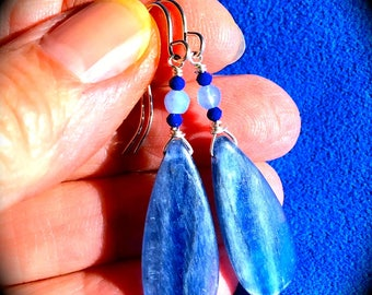 Glowing blue Kyanite earrings