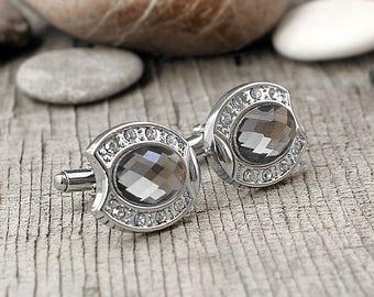 Grandfather gift Grandpa gift|for|grandpa Vintage cufflinks Mens cufflink Groom cufflinks Silver cufflinks Wedding cufflink Crystal cufflink