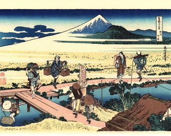 "Japanese Ukiyo-e Woodblock print, Katsushika Hokusai, ""Nakahara in Sagami Province, Thirty-six Views of Mount Fuji"""