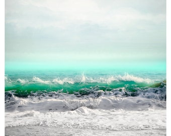 Sea art print, Extra large wall art Ocean photography, coastal wall art, turquoise water art, vertical seascape, oversized art 30x40, 40x50