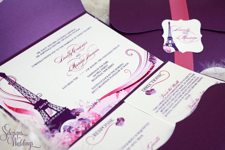 Gorgeous Paris Wedding Invitations Best Paris Themed