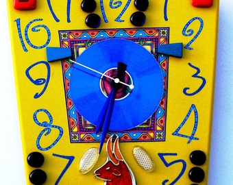 TAURUS BULL Clock with CD, Astrological Sign, Stock Market Investor Gift, Rodeo Art, Blue Yellow Orange Green Red