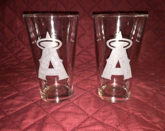Anaheim Angels Hand Etched Pint Glasses!