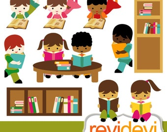 Reading clipart sale / Kids sit, stand read book clip art / Kids reading clipart / book club, students, back to school, library