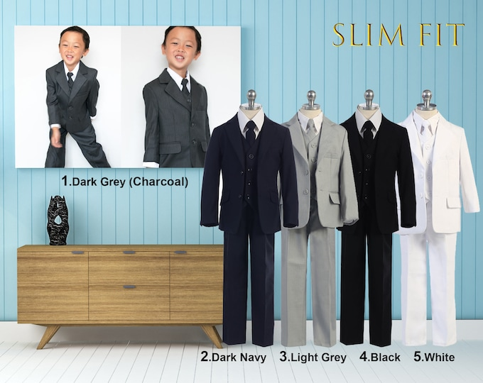 Featured listing image: Slim Fit Premium Boys 5-Piece Suit Tuxedo, Dark Gray Charcoal, Light Gray, Dark Navy, Black, Wedding, Ring Bearer, Communion