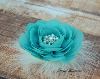 Turquoise Chiffon Flower Hair Clip | Vintage Inspired Bridal Hair Piece | Fascinator | Girl Feathers Pearl Rhinestone | White Ivory Feathers