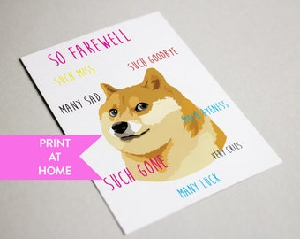 "Wow Doge ""Sorry you're leaving"" digital printable PDF card 