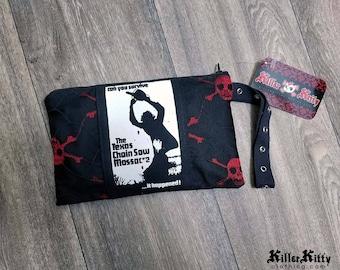 Texas Chainsaw Massacre horreur film poche aumônière maquillage sac à cosmétiques Leatherface Halloween embrayage de pièce de monnaie bourse Goth