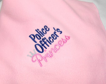 Baby girl blanket, police officer's, princess, baby shower gift, personalize Cop Baby, Girl Gift, Crib Blanket 30X30, soft baby blanket