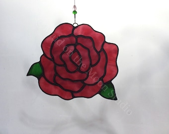 Stained Glass Rose, Stained Glass Sun Catcher, Glass Flower