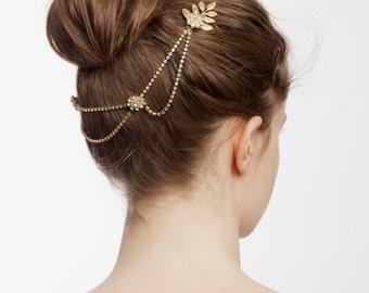 Boho Wedding Headpiece with gold leaves - Gold Bridal Wreath Hair Accessory - Greek Goddess Headpiece -