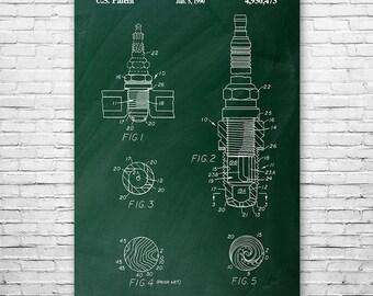 Spark Plug Poster Art Print, Automotive Art, Spark Plug Patent, Car Patent, Mechanic Gift, Patent Art, Patent Print, Patent Poster, Wall Art