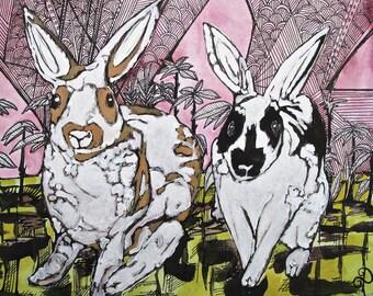 Bunny Love - Archival Giclee Print - Dawn Patel Art - animal art - Art prints - original art - bunny, rabbit, watercolor, kids art