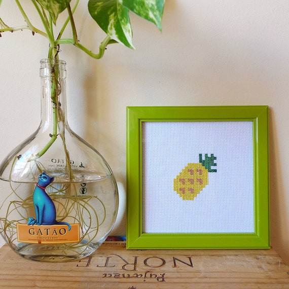 Pineapple cross stitch Art