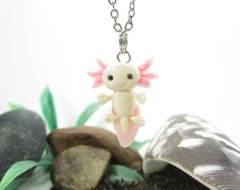 Axolotl Necklace, axolotl jewelry, salamander necklace, axolotl gift, miniature animal, polymer clay, unique gift cute totem friend gift