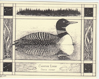 Common Loon-This 6-pack of blank, ivory cards w/envelopes drawn by Linda Cook DeVona features a pen-and-ink drawing of a Common Loon.