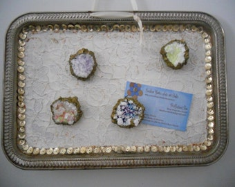 Shabby Chic Memo Tray with Faux Geode Magnets