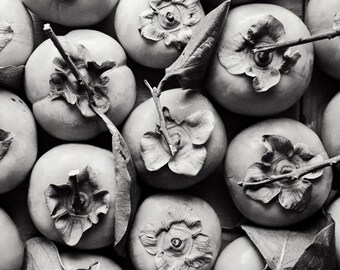 """Persimmon Print - black and white still life - food photography - abstract wall art - fruit art print - gray wall art """"Persimmon Harvest"""""""