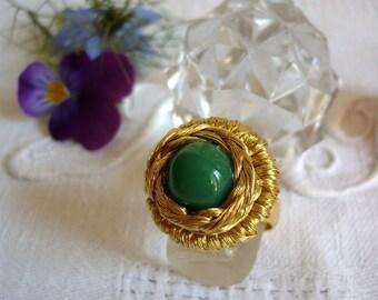 Ring adjustable vintage gold tone
