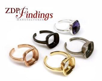 2pcs x Square Cushion 10mm Bezel Ring For Gluing Swarovski 4470 Crystal, Choose Your Finish (AARGSQH10V)