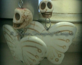 Butterfly skull death and rebirth reincarnation pagan Wiccan witch earrings
