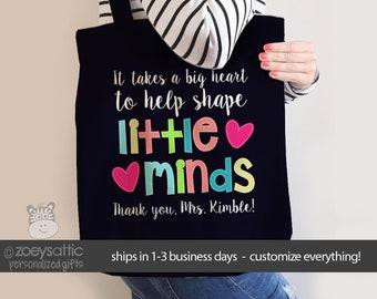 teacher tote bag - adorable teacher tote for kindergarten, first grade - teacher gift a big heart to help shape little minds MSCL-028d
