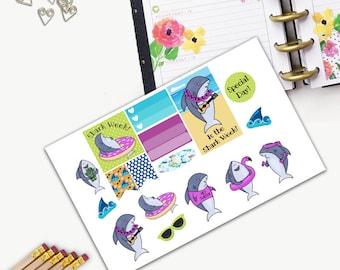 Shark Week Theme One Day Small Planner Sticker Set, All Happy Planner Stickers, Stickers, Printed, Cut, Functional Sticker, Shark, Summer
