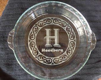 Casserole Round Glass Dish - Laser Engraved