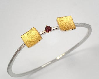 Gold and silver hammered bracelet with a pink tourmaline stone, Textured bracelet, Handmade bracelet, Gift for her, Gift for daughter.