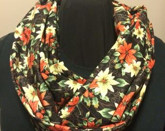 Red and White Poinsettias on Black Cotton Fabric Infinity Scarf