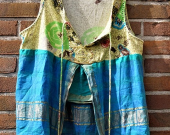 Boho Top, Hippy Top, Free People Top, Recycled Top, Altered Top, Reworked Top, Sari Silk Top, Eco Top, Upcycled Top, Restyled Tee, Shirt,