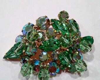 Vintage Kramer Brooch Green Art Glass Cha Cha Style Dangle Beads And Rhinestones