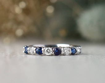 Blue Sapphire and Diamond Band   Wedding Band   Solid 14K Gold   Gemstone Ring   Engagement   Fine Jewelry   Free Shipping