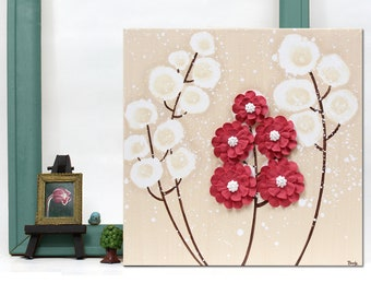 Acrylic Painting on Canvas, Small Wall Art with Textured Flower in Khaki and Red - 10x10