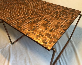 Penny covered Copper Coffee table
