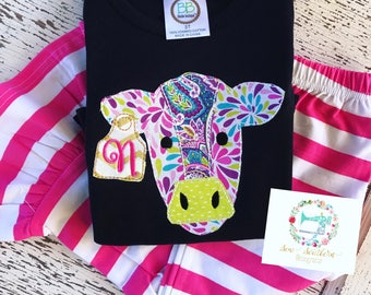 Cow appliqued Ruffle tee with initial