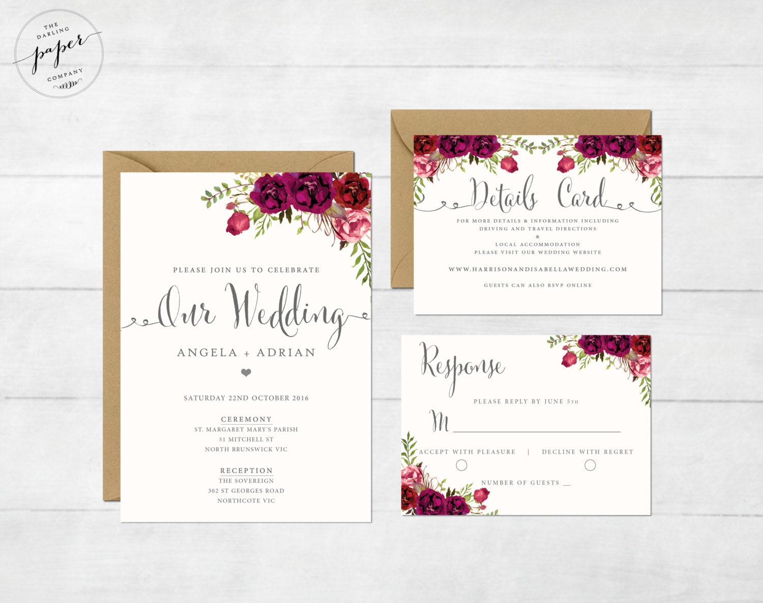 Floral Wedding Invitation Printable Wedding Invitation Suite