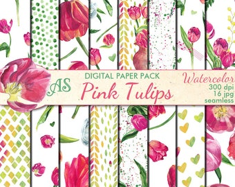 Digital Watercolor Pink Tulips Seamless Paper Pack, 16 printable Scrapbooking papers, Floral Collage, Decoupage, Instant Download, set 373