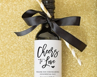 Mini Wine Bottle Labels \\ Cheers to Love \\ Wedding and Shower Favors