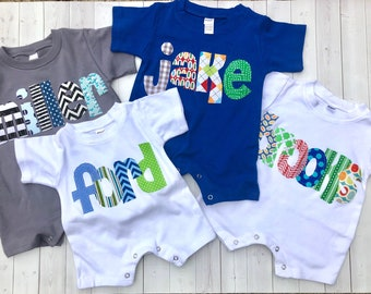 Baby Boy Romper/Personalized Romper/Baby Shower Gift/Baby Toddler Romper Sunsuit with Name