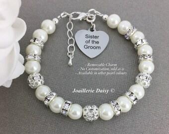 Sister of the Groom Bracelet Gift for Sister in Law Sister Bracelet Pearl Bracelet Bridal Party Jewelry Gift for Sister of the Groom