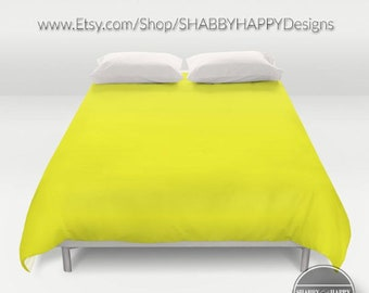 Solid Color BRIGHT YELLOW /Choice of Duvet Cover or Comforter/Bedding Modern Minimalist Basic Art /Sizes Twin, XL Twin, Full, Queen, & King