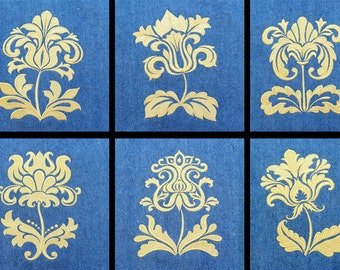 6 Embroidered Fabric Blocks: Damask Flower Designs for Quilts, Wall Hangings, etc.