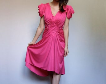 Vintage Pink Dress Short Sleeve V Neck 70s Hot Pink Party Dress Draped - Small to Medium S M