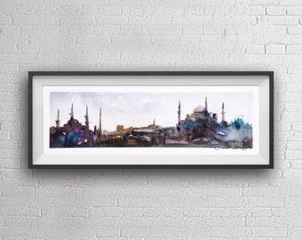 Istanbul Panorama watercolor painting art print