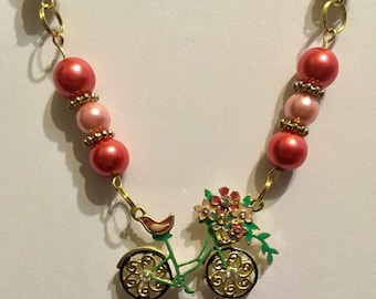 Spring bicycle necklace
